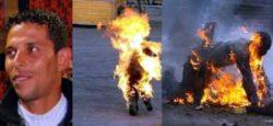 محمد بوعزيزي يشعل النار في نفسه سيدي بوزيد تونس