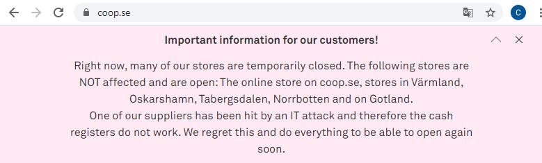 """رسالة من شركة """"Coop"""" السويدية"""
